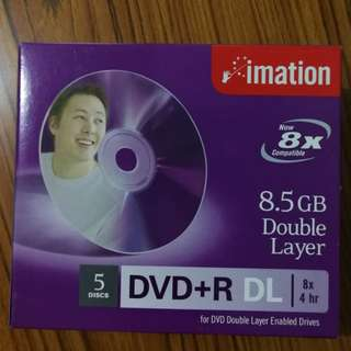 5 pieces of  8.5GB DVD+r DL (8x)