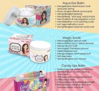 Aqua eye balm, Magic Scrub, Candy Lip Balm