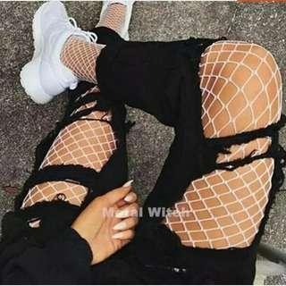 White SEXY women high waist fishnet stocking fishnet club tights panty knitting net pantyhose trouser mesh lingerie TT016 1pcs