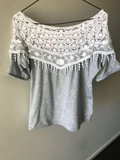 Grey/White lace top