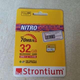 大減價(全新未拆)Strontium micro SDHC UHS-1 Class10 32GB card