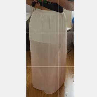 Pink white ombre maxi long skirt