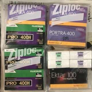 Various Kodak Portra Fuji Pro 400H Tmax Tri-X Ilford Delta Velvia
