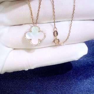 Van Cleef & Arpels 款天然貝母18k金鑽石頸鏈🎁經典時尚全新生日禮物推薦