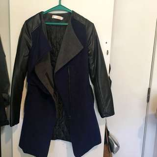 Navy blue coat w/ leather arms
