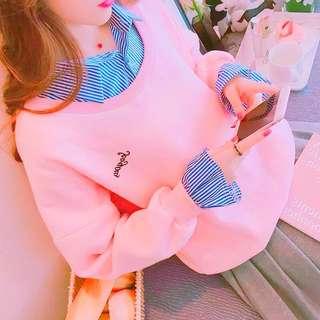 冬季韓版厚磅刷毛襯衫立領假兩件長袖T恤