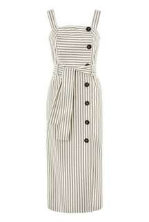 Topshop front button stripe midi pinafore dress