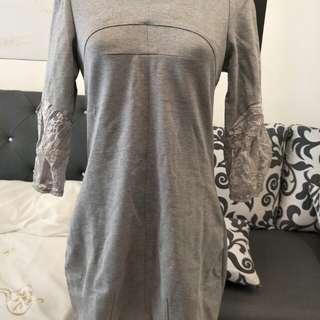 春天灰色短洋裝