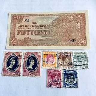Malaya note & Stamps