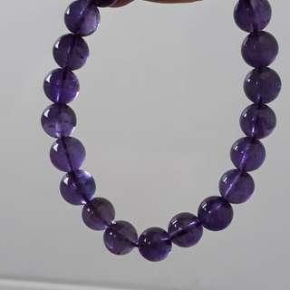 Uruguay Amethyst bracelet (乌拉圭紫晶手链). Bead size 8mm.