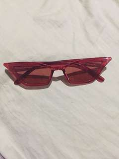 Megan Retro Clear Red Cat Eye Sunnies
