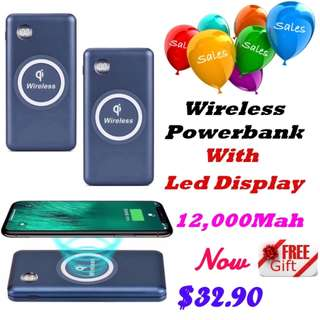 Wireless Powerbank With Led Display 12,000 Mah