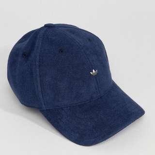 Adidas Originals 絨面 海軍藍 小logo 老帽 毛巾底