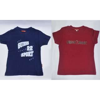 Lot of 2 Authentic Guess 6 - 8 y.o. Navy Blue Maroon T-shirt