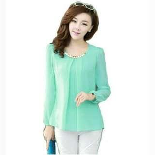 Massharkfashion29 blouse model korea lengan panjang dengan kalung