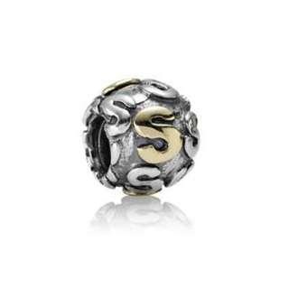 "Pandora 14ct Gold ""S"" Charm"