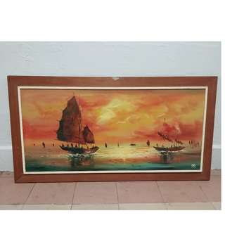 ships / sea oil painting scenery  ( 38 inch x 20 inch )