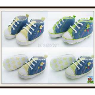 Hi- Cut Denim Baby Shoes in Yellow and Green - Soft Soles
