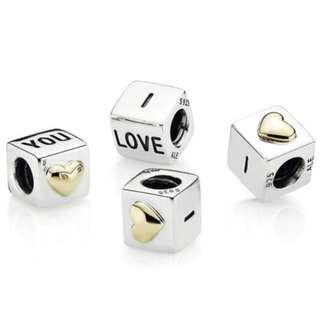 """Silver """"I love you"""" Charm with 14ct Gold heart"""