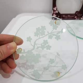 Cherry blossoms glass coasters set of 2