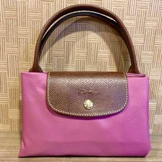 (全新)Longchamp 短把 M號 水餃包 粉色
