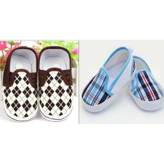 Brown │ Blue Plaid Boy's Slip-on Baby Shoes - Soft Sole