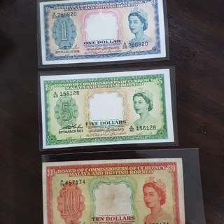 1953 Malaya British Borneo notes QE $1, $5 & $10
