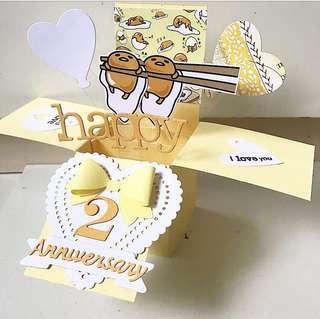 Happy 2 Anniversary Handmade Pop Up Card gudetama