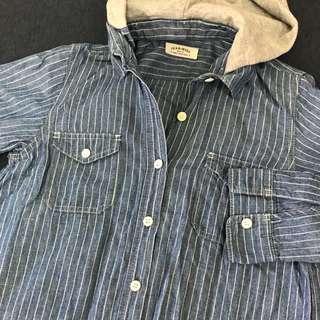 日本古著店帶回直條紋牛仔襯衫(連帽可拆)