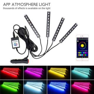 4x Bluetooth 5050 SMD RGB Light Flexible 12V Car LED Strip