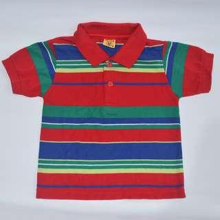 Hello Haide 2 - 3.5 yrs. old Red Stripes Boys Polo Shirt