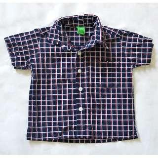 SPIN Navy Blue Plaid Boy's Polo Shirt ~ Preloved