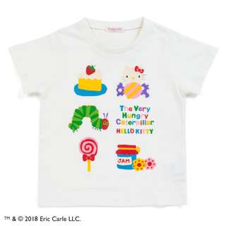 Japan Sanrio Hello Kitty × The Very Hungry Caterpillar Kids T-shirt (sweets)