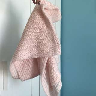 Baby Pink Cotton Knit Infinity Scarf