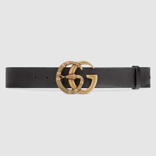 Leather belt with Double G buckle with snake