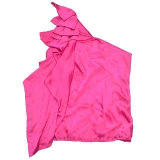 FOREVER NEW Silk Party Hot Pink One Shoulder Ribbon Ruffles