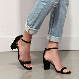 "Strappy Black 4"" Block Heels"