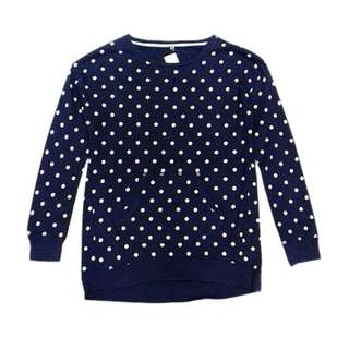 Uniqlo Kids Girl's Blue Polka Dot Sweatshirt Size 150