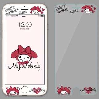 Instock! Iphone 7/ 7+/ 8/ 8+ HelloKitty Melody TemperedGlass