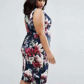 3D Floral Plus Size Dress