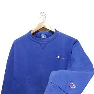 Sweatshirt sweater crewneck champion script blue builtup
