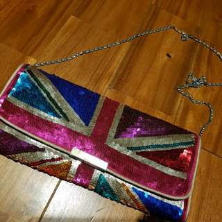 Accessorize Union Jack Sequined Sling Bag