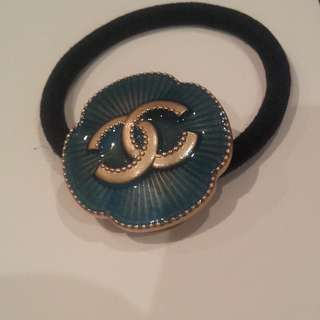 chanel teal hair tie