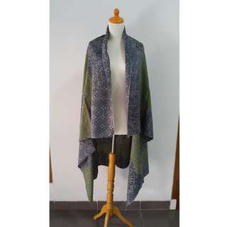 Batik Cap Dobby Biru Hijau (Cocok untuk Kemeja)