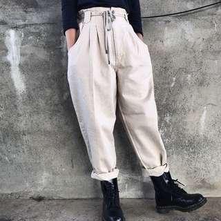 🌴80s米色復古高腰寬版工作褲 老爺褲 女款Vintage 日本帶回古著
