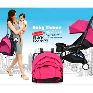 ORIGINAL Pink Baby Throne Stroller – Advance (Ultralight weight) **pre-order**