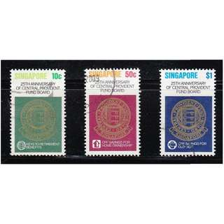 SINGAPORE 1980 25TH ANNIV. OF CPF BOARD COMP. SET OF 3 STAMPS SC#353-355 IN FINE USED CONDITION