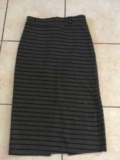Gray Stripes Pencil Skirt