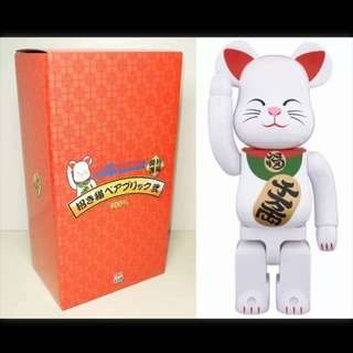 Bearbrick White Lucky Cat 400%