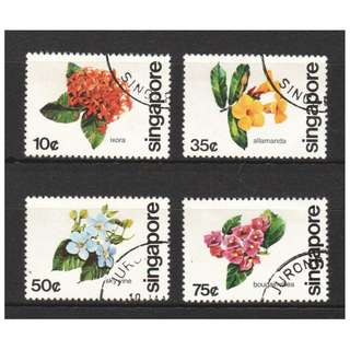 SINGAPORE 1980 FLOWERS OF S'PORE COMP. SET OF 4 STAMPS IN FINE USED CONDITION
